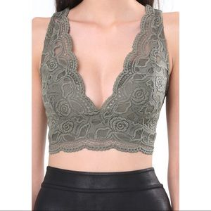 Bebe Green Lace Plunge Crop Top